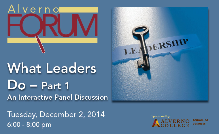 Header for December 2 Alverno Forum Key to Leadership
