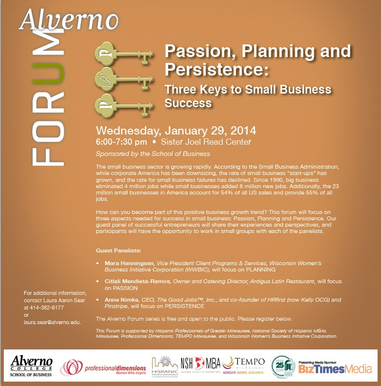 graphic of January 29, 2014, Alverno Forum Passion, Planning and Persistence: Three Keys to Small Business Success