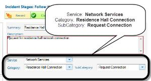Alverno Service Desk screenshot; Residence Hall Network Connection request